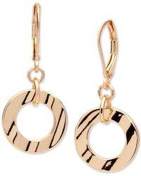 Anne Klein - Metallic Gold-tone Circle Drop Earrings - Lyst