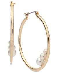 Anne Klein - Metallic Gold-tone Imitation Pearl Hoop Earrings - Lyst