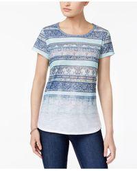 Style & Co. - Blue Faded Stripe-pattern T-shirt - Lyst