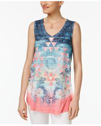Style & Co. | Blue Dream Oasis Mixed-print Top | Lyst