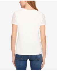 Tommy Hilfiger - White Perforated Graphic T-shirt - Lyst
