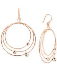 Touch Of Silver - Metallic Rose Gold-tone Orbital Drop Earrings - Lyst