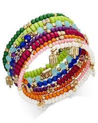 INC International Concepts - Multicolor Gold-tone Multi-layer Beaded Coil Bracelet, - Lyst