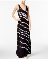 INC International Concepts   Black Petite Printed Embellished Ruched Maxi Dress   Lyst