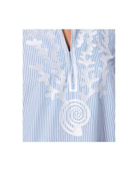 Charter Club | Blue Cotton Embroidered Striped Tunic | Lyst