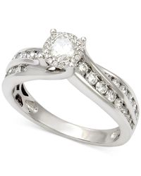 Macy's - Diamond Halo Channel Set Engagement Ring (1 Ct. T.w.) In 14k White Gold - Lyst
