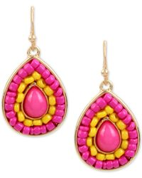 INC International Concepts | Pink Gold-tone Colored Stone & Bead Drop Earrings | Lyst