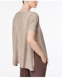 Eileen Fisher - Natural Linen Side-split Top - Lyst