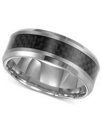Triton | Multicolor Men's Tungsten Carbide Ring, Black Carbon Fiber Stripe Wedding Band for Men | Lyst