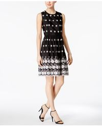 Tommy Hilfiger Black Daisy Embroidered Fit & Flare Dress