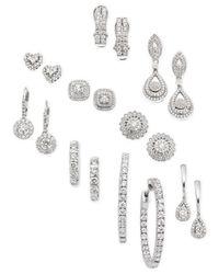 Macy's - Metallic Diamond Dangle Drop Earrings In 14k White Gold (1 Ct. T.w.) - Lyst