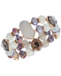 Lonna & Lilly - Purple Gold-tone Multi-stone Beaded Stretch Bracelet - Lyst