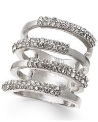 INC International Concepts | Metallic Silver-tone Four Open Row Pavé Ring | Lyst