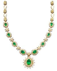 Effy Collection | Green Emerald (3-3/8 Ct. T.w.) And Diamond (1-2/3 Ct. T.w.) Necklace In 14k White Gold | Lyst
