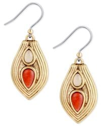Lucky Brand - Metallic Gold-tone Stone Textured Teardrop Drop Earrings - Lyst