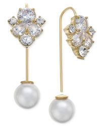 Kate Spade - Metallic 14k Gold-plated Crystal And Imitation Pearl Hanger Earrings - Lyst