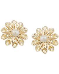 Carolee - Metallic Gold-tone Imitation Pearl Flower Clip-on Stud Earrings - Lyst