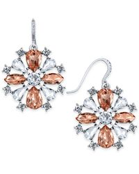 Charter Club | Metallic Silver-tone Clear & Pink Crystal Drop Earrings | Lyst