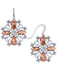Charter Club - Metallic Silver-tone Clear & Pink Crystal Drop Earrings - Lyst