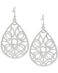 Touch Of Silver - Metallic Teardrop Filigree-patterned Drop Earrings In Silver-plated Metal - Lyst