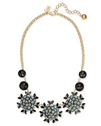 Kate Spade - Metallic Gold-tone Pavé, Sequin & Jet Stone Statement Necklace - Lyst