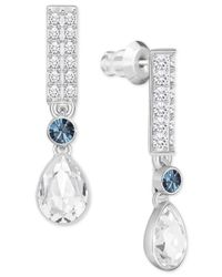 Swarovski - Multicolor Silver-tone Clear & Blue Crystal Drop Earrings - Lyst