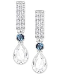 Swarovski - Multicolor Silver-tone Clear & Blue Crystal Drop Earrings - Lyst