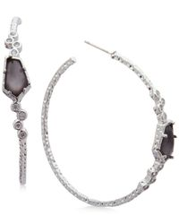 Lonna & Lilly | Metallic Silver-tone Pavé & Jet Stone Hoop Earrings | Lyst