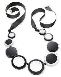 Kate Spade | Gold-tone Colored Circles Black Ribbon Statement Necklace | Lyst