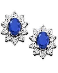 Macy's | Blue 10k White Gold Earrings, Sapphire (1-1/3 Ct. T.w.) And Diamond Accent Stud Earrings | Lyst