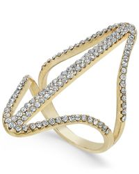 INC International Concepts - Metallic Gold-tone Pavé Double Point Ring - Lyst