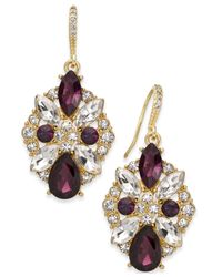 Charter Club | Purple Clear & Colored Crystal Drop Earrings | Lyst