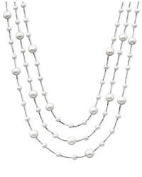 Macy's | Metallic Cultured Freshwater Pearl Triple-tier Necklace (4-8mm) In Sterling Silver | Lyst
