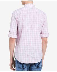 Calvin Klein Jeans - Pink Men's Line Drawn Plaid Shirt for Men - Lyst