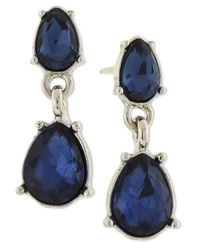 2028 - Metallic Silver-tone Two-stone Drop Earrings - Lyst