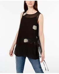 Eileen Fisher - Black Silk Printed Top - Lyst