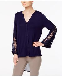 August Silk | Blue Crochet-sleeve High-low Blouse | Lyst