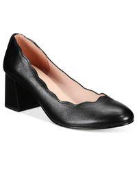 French Sole - Black Wave Block-heel Pumps - Lyst