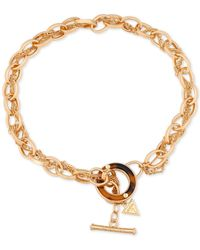 Guess - Metallic Gold-tone Tortoise-look Toggle Necklace - Lyst