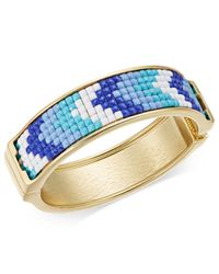 INC International Concepts - Metallic Gold-tone Blue & White Stone Hinged Bangle Bracelet - Lyst