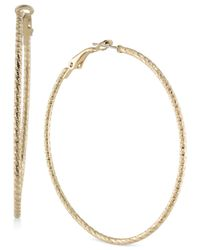 ABS By Allen Schwartz - Metallic Gold-tone Hoop Earrings - Lyst