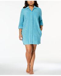 Charter Club - Blue Plus Size Notch-collar Robe - Lyst