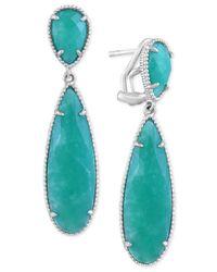 Effy Collection - Metallic Amazonite (11 X 7mm & 29 X 9mm) Teardrop Drop Earrings In Sterling Silver - Lyst