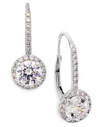 Arabella - Metallic Cubic Zirconia Leverback Earrings In 14k White Gold (3 Ct. T.w.) - Lyst