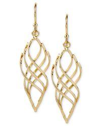 Hint Of Gold - Metallic 14k Gold-plated Earrings, Polished Twist Drop Earrings - Lyst