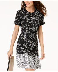 Maison Jules - Black Printed Flounce-hem Dress, Created For Macy's - Lyst
