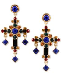 Guess - Metallic Gold-tone Multicolor Crystal Cross Drop Earrings - Lyst
