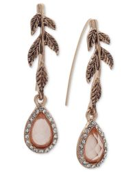 Lonna & Lilly - White Gold-tone Pavé & Colored Stone Leaf Drop Earrings - Lyst