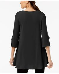 Alfani - Black Petite Tie-sleeve Trapeze Top, Created For Macy's - Lyst
