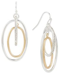 Touch Of Silver - Metallic Pavé Orbital Drop Earrings In 14k Gold-plated And Silver-plated Metal - Lyst